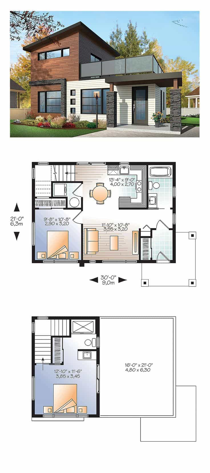house plans 3 - 42+ Small Two Story Modern House Floor Plans Pics