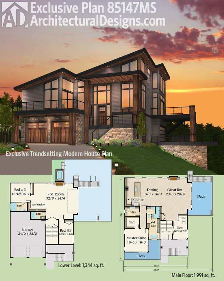 7 modern house plans samples modern home for Modern house designs usa