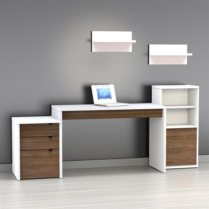 Http://www.lectorcomplice.com/white Office Table Desk/white Office Table  Desk Modern Office Desk With Built In Bookshelf White High Gloss High Gloss  White  ...